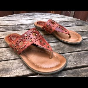 Ariat North Star red leather studs thong sandals